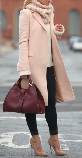 coat classy shoes bag clothes high heels nude burgundy wine scarf beautymanifesto brooklyn blonde jeans sweater sunglasses jacket outfit