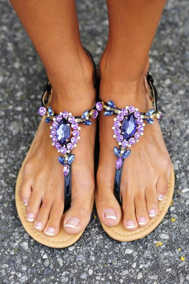 shoes sandals flat sandals jewels purple purple shoes jewelry strappy sandals elegant sparkle diamonds blue slippers pretty summer black diamond tumblr shoes flower tumblr for girls crystal purple sandals jewel rhinestone