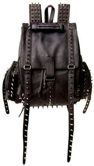 bag black leather purse studded spiked punk backpack cool swag style spikes studs grunge