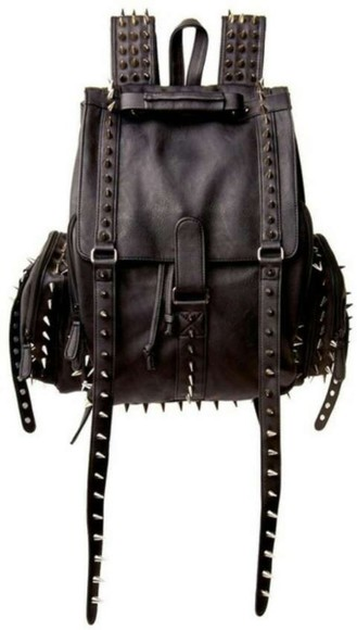 bag leather backpack grunge spikes studs black purse studded spiked punk belts