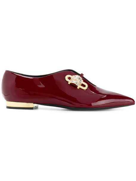 women embellished leather red shoes