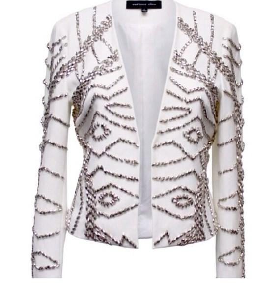 jacket white elegant fashion style silver blazer fancy
