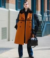 coat,tumblr,streetstyle,brown coat,fur collar coat,denim,jeans,blue jeans,flare jeans,bag,black bag