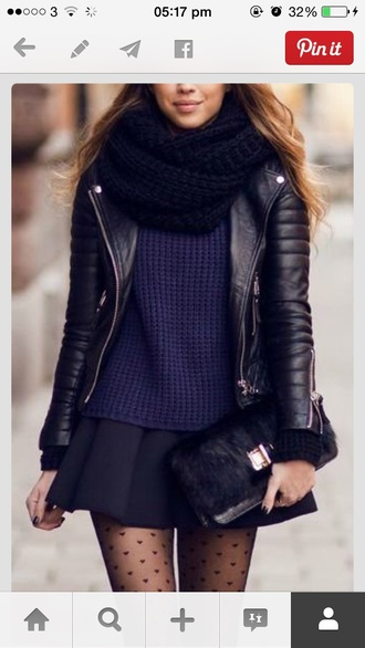 biker jacket tights knitted scarf knitted sweater skater skirt mini skirt fall sweater blue sweater clutch black boots fall outfits black leather jacket leather jacket bodaskins boda skins boda leather fashion ss16 style skirt black skirt pleated skirt