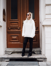 mija,blogger,coat,shoes,bag,sunglasses,pants,tumblr,black pants,flare pants,sweater,knit,knitwear,knitted sweater,white sweater