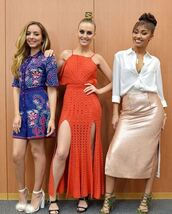 dress,red dress,little mix,perrie edwards,skirt,blouse,romper,jade thirlwall,mules,sandals,shoes,leigh-anne pinnock