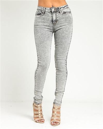 Gray acid wash high waisted skinny jeans