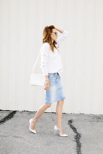 could i have that blogger skirt sweater shoes sunglasses jewels bag d'orsay pumps denim skirt