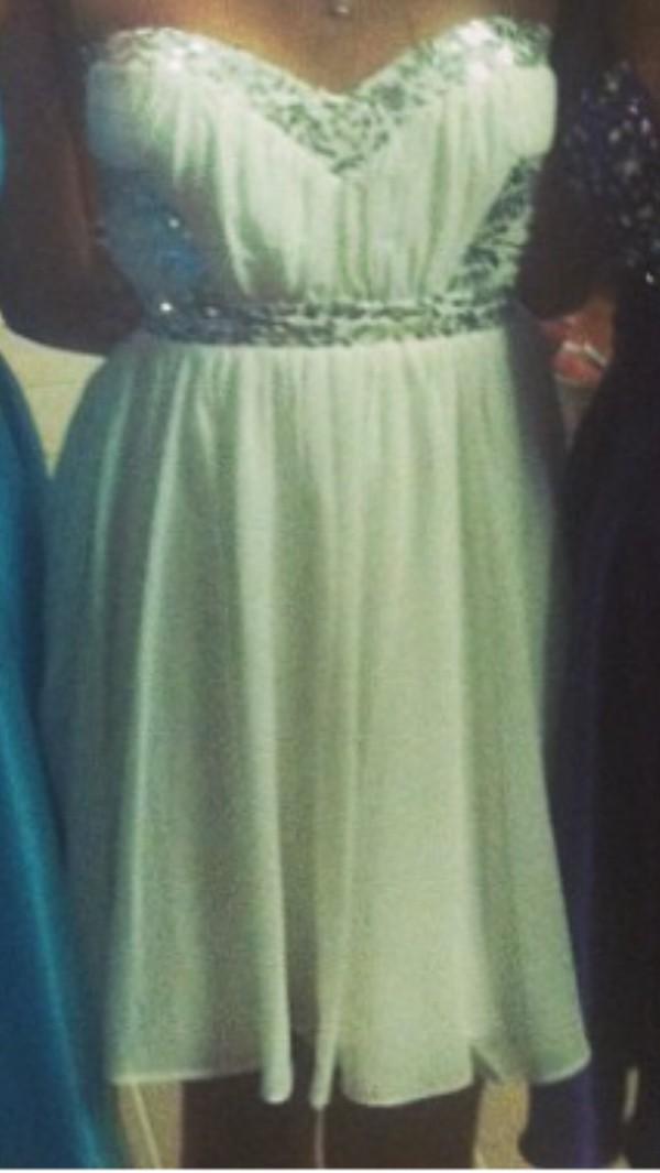 dress dress white sparkles strapless