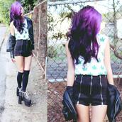 shorts,blouse,short shorts,zip,high heels,black high heels,knee high socks,leather jacket,black leather jacket,pot leaf,marijuana
