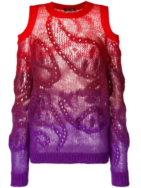 Roberto Cavalli - gradient cold shoulder paisley knit sweater - women - Polyamide/Mohair/Wool - 44, Pink/Purple, Polyamide/Mohair/Wool