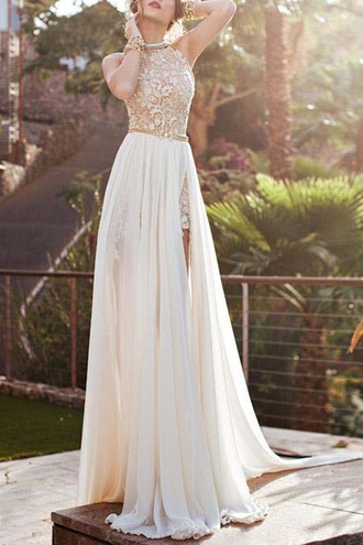 dress prom dress lace dress lace chiffon long dress long prom dress gorgeous zaful long white prom formal formal dress sheer floral cream off-white wedding wedding dress white and gold lace