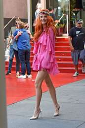 dress,ruffle,ruffle dress,pink dress,bella thorne,mini dress,celebrity