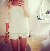 shirt,clothes,pretty,white,top,shorts,crochet,cream,cute,lace,summer,pants