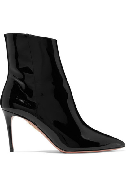 Aquazzura - Alma Patent-leather Ankle Boots - Black