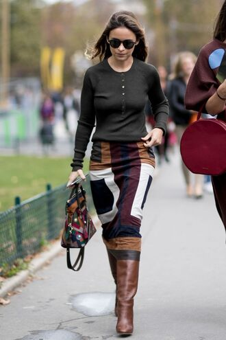 skirt boots miroslava duma blogger long sleeves fall outfits fall colors streetstyle paris fashion week 2016