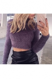 sweater,cozy,warm,fashion,style,fall outfits,purple,crop tops,winter outfits,long sleeves,fluffy,beautiful halo