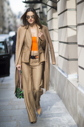 pants top coat alessandra ambrosio camel camel coat suit blazer fashion week 2016 paris fashion week 2016 model off-duty streetstyle purse jacket bag all beige everything beige coat winter coat winter look