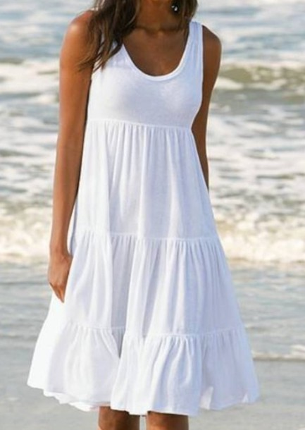 Dress: summer, cotton, white, beach, beach dress, beachwear ...