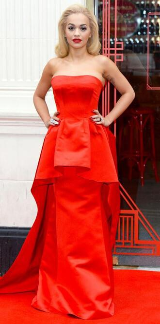 dress gown red red dress red carpet dress rita ora bustier dress strapless