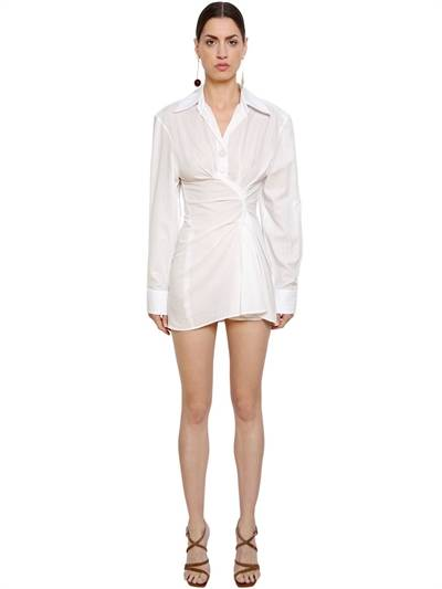 JACQUEMUS, La tunique maceio shirt dress, White, Luisaviaroma