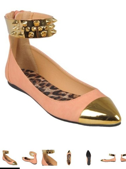 shoes pink spiked shoes flats ankle strap gold ankle strap