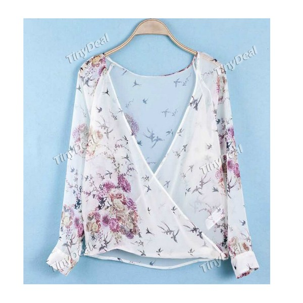Animal Print Floral Chiffon Western Sexy Retro Blouse for Women