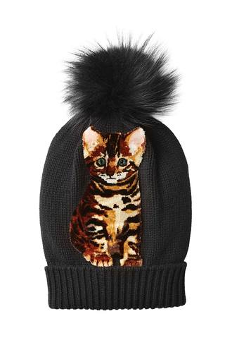 hat beanie faux fur dolce and gabbana cats