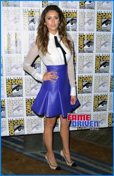 nina dobrev leather skirt blue skirt skirt blouse