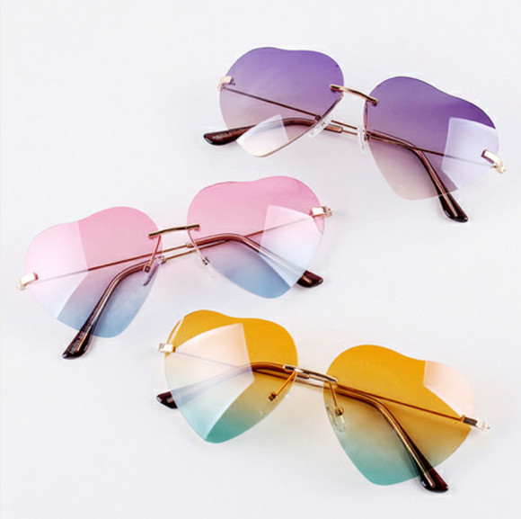 sunglasses green purple yellow weheartit girly chic style outfit accessories sun party