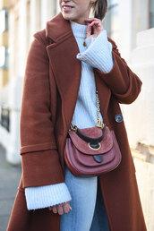 coat,tumblr,rust,brown,brown coat,bag,red bag,chain bag,sweater,white sweater,denim,jeans,blue jeans