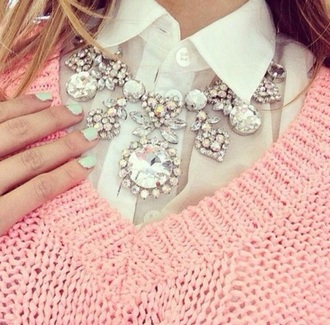 jewels pink sweater white blouse necklace sweater blouse big necklace