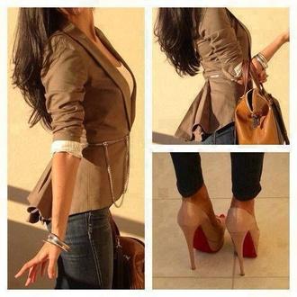 shoes christian louboutin leather high heels jacket tan cute style casual biege beige jacket biege color