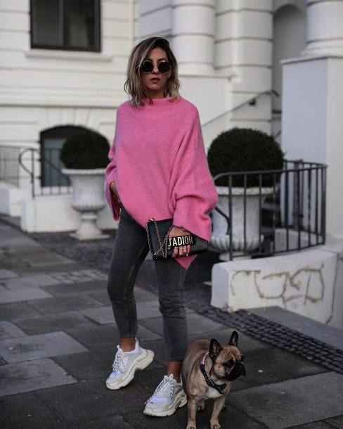 pants tumblr pink sweater turtleneck jeans denim grey jeans sneakers white sneakers sunglasses