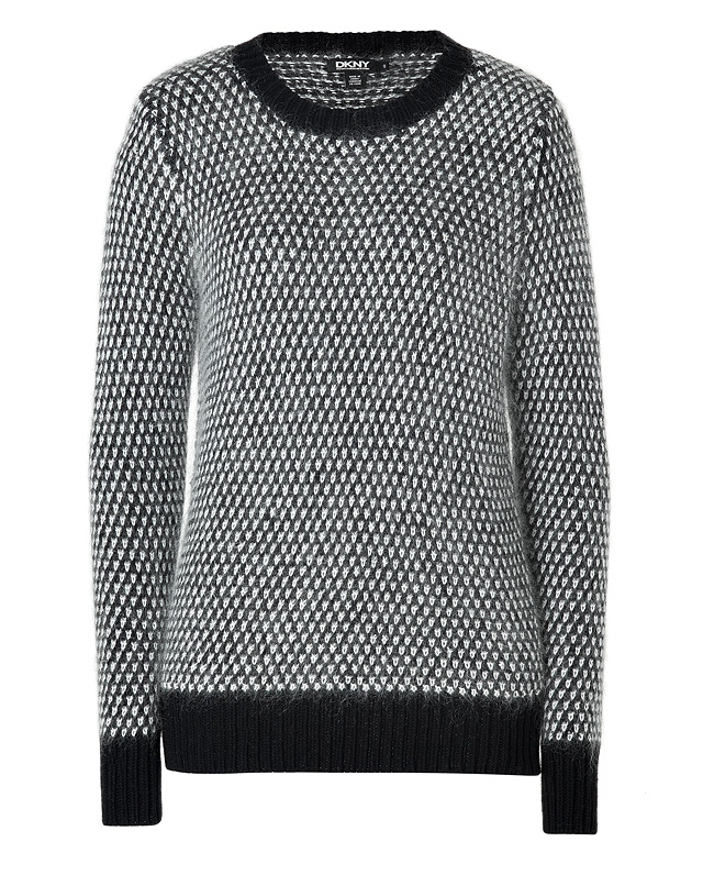 Black/White Wool-Mohair Knit Pullover from DKNY | Luxury fashion online | STYLEBOP.com