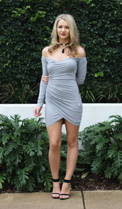 dress,grey,wrap around,close fitting,off the shoulder,long sleeves,twist