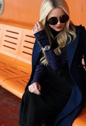 coat,tumblr,blue coat,sunglasses,round sunglasses,blonde hair,top,blue top,velvet,velvet top and tool bottom,watch