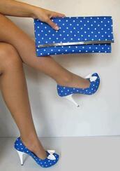 shoes,blue,white,bows,heels,polka dots,white bow blue shoe white polka dots,bright blue and white polka dots