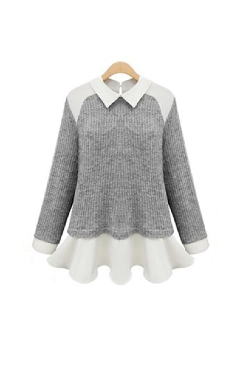 2013 New Slim Splicing Lapel Chiffon Knitted Sweater,Cheap in Wendybox.com