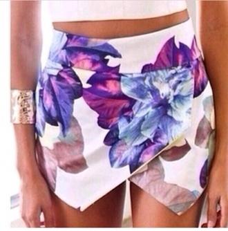 white shorts floral skorts skirt blue skirt violet white shorts cute ebonylace.storenvy ebony lace ebonylace-streetfashion ebony lace - lookbooksotre