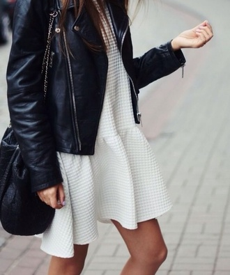 biker jacket white dress