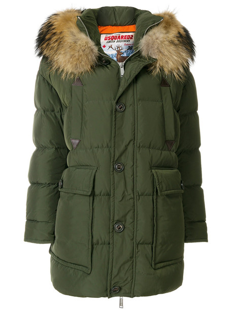 Dsquared2 parka fur fox women green coat