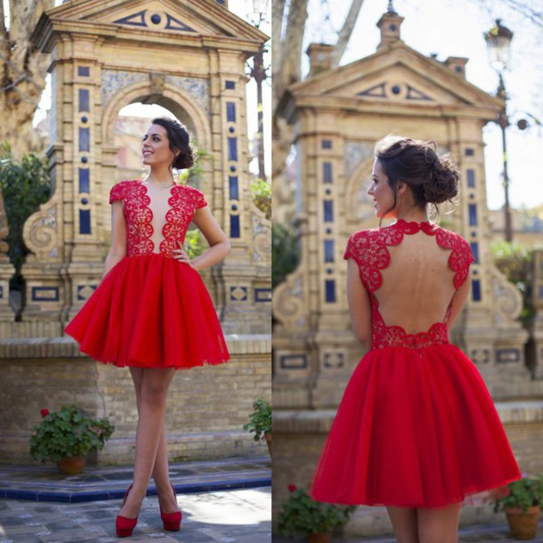 Lace red dress short - Dess store 24