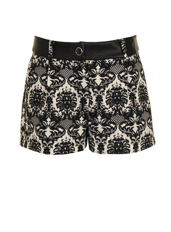 Black and cream lace shorts