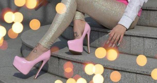 pants leggings leggings glitter gold glitters shoes high heels pink brillant silver pumps sandals platform shoes