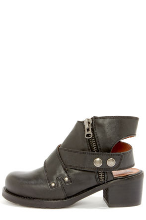 Cute Black Boots - Leather Boots - Ankle Boots - Cutout Boots - $179.00