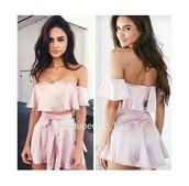 jumpsuit,pink,matching set,romper,dress,shorts,blouse,flow,crop tops,salmon,summer,skirt,pink skirt,bow,cute,shirt,silk,blush,saten,clothes