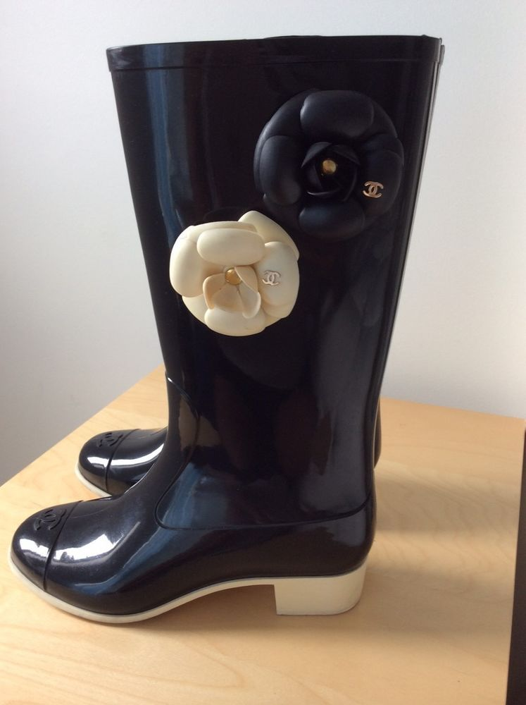 CHANEL Black Beige White Roset CC Charms Rainboots Boots Shoes 37