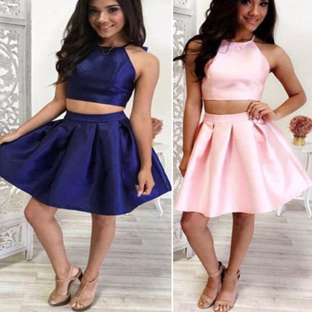 Dress: short homecoming dress, two pieces homecoming dress, cute ...