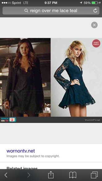 dress teal blue lace free people the vampire diaries elena gilbert